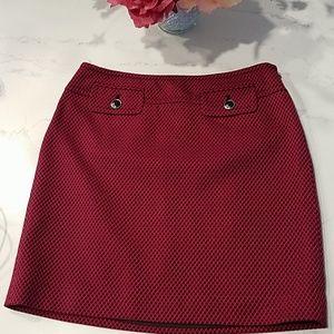 Ann Taylor LOFT, Raspberry & Black Skirt, 0P